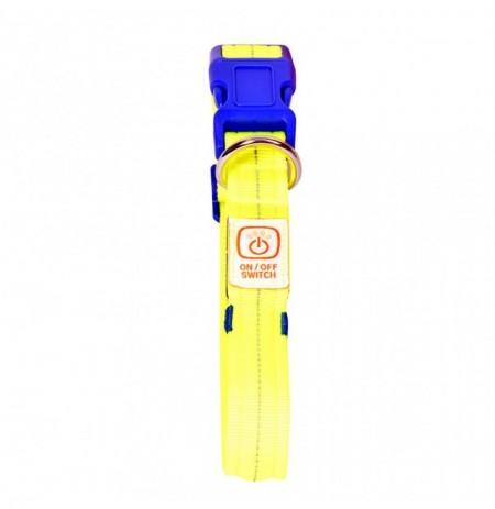Collar reflectante luz led neon amarillo duvo seecurity