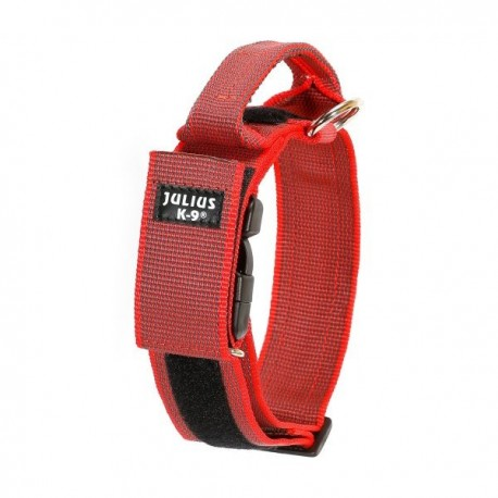 Collar julius-k9 con asa rojo - color & gray