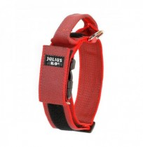 Collar julius-k9 con asa rojo - color & gray