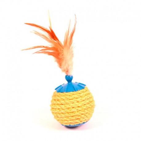 Juguete bola chuches con plumas para gato