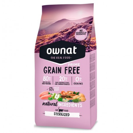 Ownat cat prime grain free sterilized para gatos (pollo y pavo)
