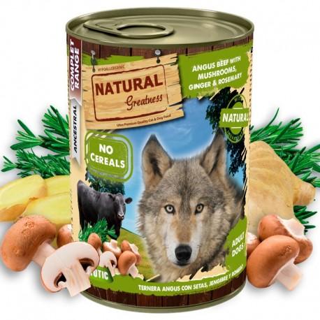 Natural greatness ternera con setas latas para perros