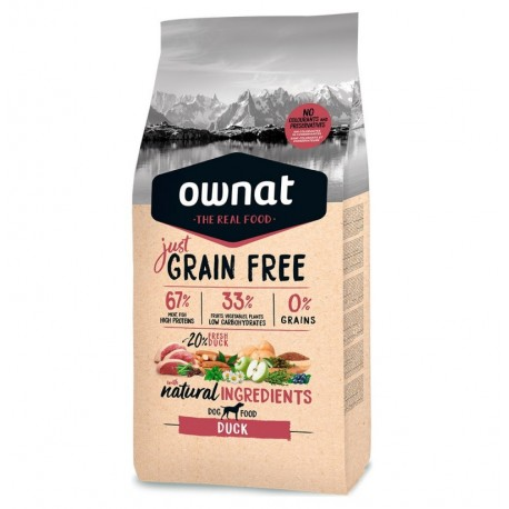 Ownat just grain free pato para perros adultos