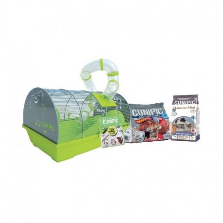 Cunipic Pack Jaula para Hámster con lote de alimentación y sustrato (lecho) de papel